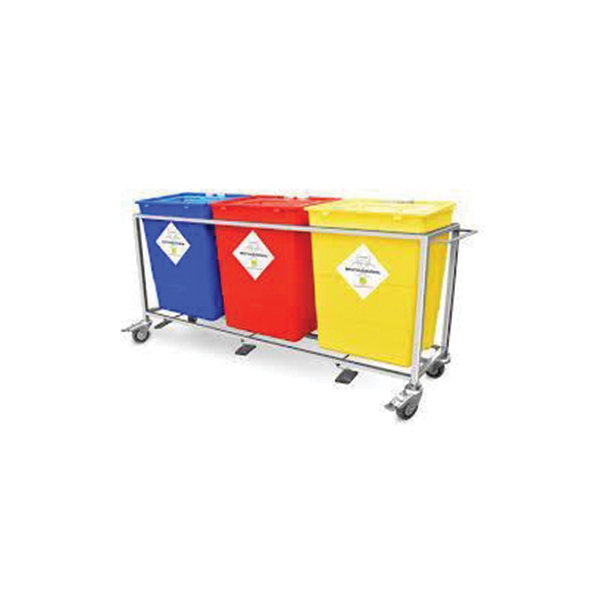 Bio Waste Collect Trolley – 3 Plastic Drum – Colour Coding Stain Steel