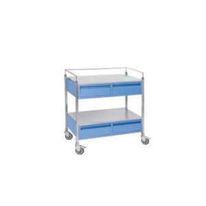 Drug Trolley – MS – Dlx with Drawers & Hippo Bins Powder Coated