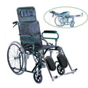 Wheel Chair Folding Reclining With Detachable Leg Rest And Folding Arm Rest Leg Elevator FS902GC