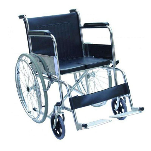 Wheel Chair Folding With Fixed Arm Rest And Foot Rest GCo Folding Hard Seat FS809Y