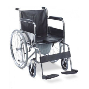 Wheel Chair Folding With Fixed Arm Rest And Foot Rest With Commode FS609