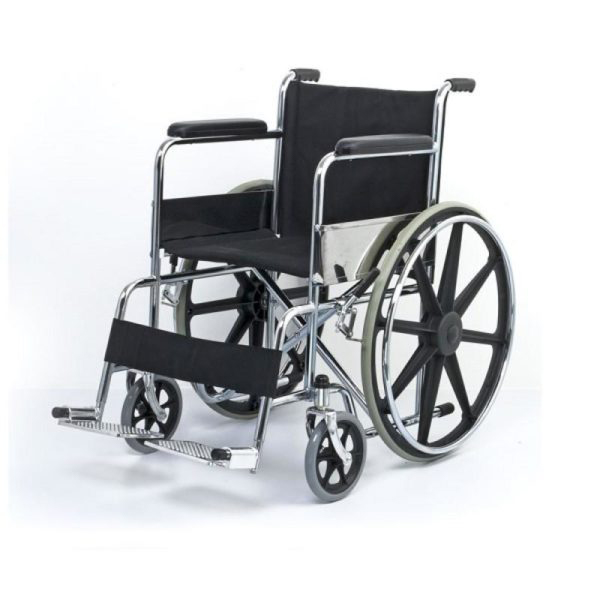 Wheel Chair Folding With Fixed Arm Rest And Foot Rest With Mag Wheel FS809B