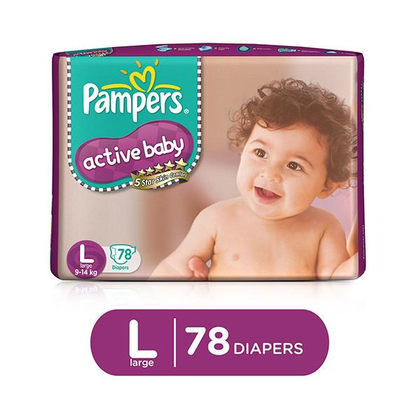Pampers Active Baby Large 9 14kg 78 Pcs