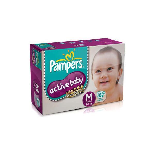 Pampers Active Babys Med 62s