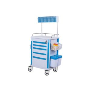 White and Blue ABS Anesthesia Trolley for Hospitals