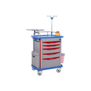 Silver Red and Blue ABS Emergency Trolley for Hospitals and Clinics