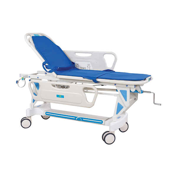 Blue and White Stainless Steel ABS Patient Transfer Trolley for Hospital with Oxygen Canister Holder