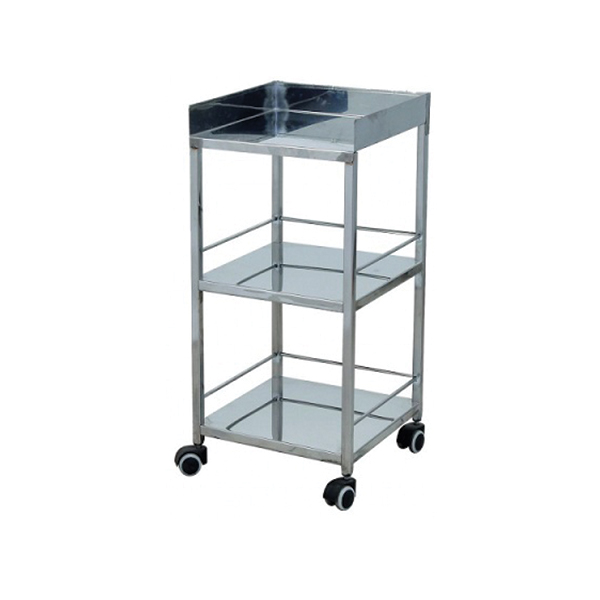 Stainless Steel Bed Side Trolley for Hospital 3 shelves