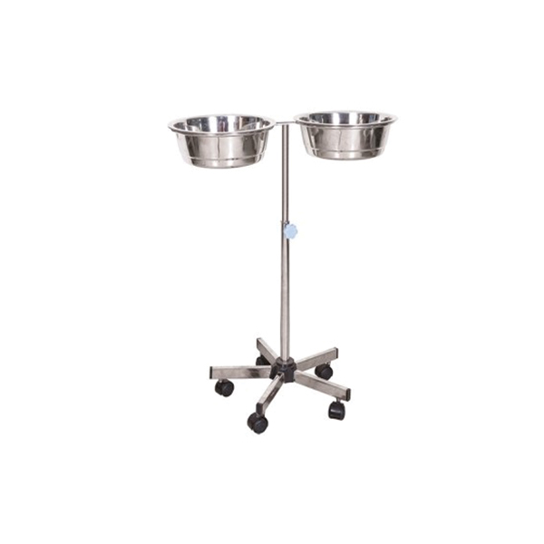 Stainless Steel Double Bowl Stand for Hospital and Clinics