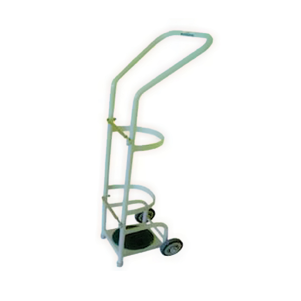 Stainless Steel Oxygen Cylinder Trolley with Rubber Tires for Hospital