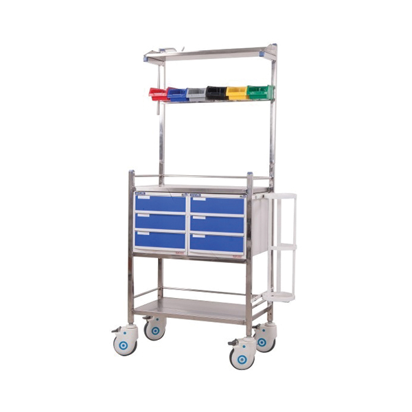 Stainless Steel Emergency Crash Cart for Hospital with 6 Drawers