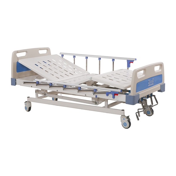 Height Adjustable Manual Icu Bed 5 Function With ABS Side Rails for Hospital