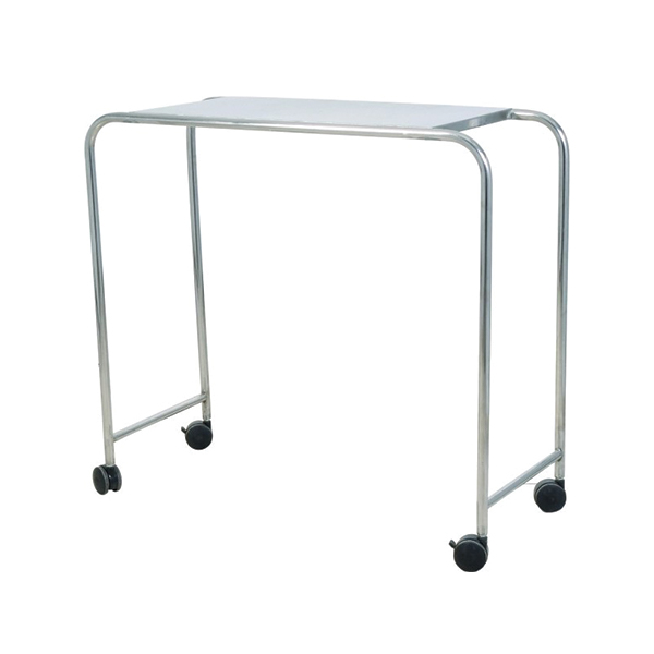 Adjustable Stainless Steel Over Bed Table with Wheels for Hospital