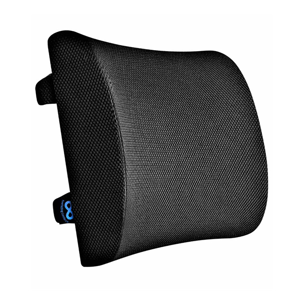 RENEWA Orthopedic Lumbar Support Memory Foam Cushion – Made For Back Pain Relief Ideal Pillow For Computer Office Chair Black