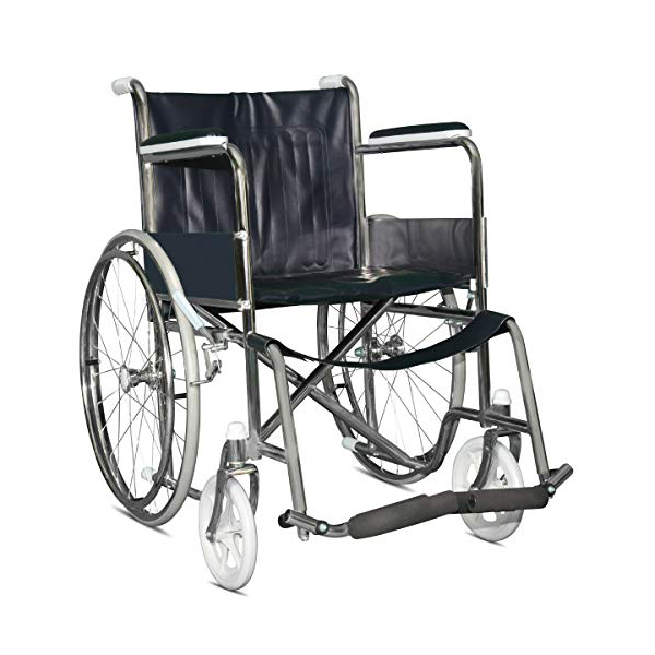 Wheel Chair Folding With Fixed Arm Rest And Foot Rest