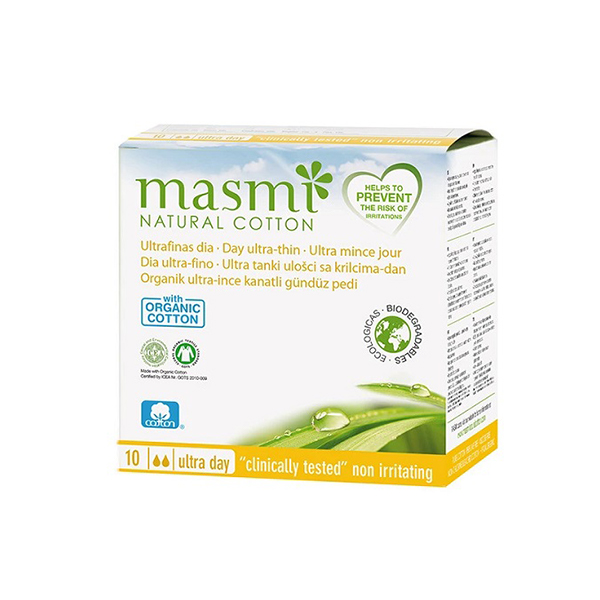 Masmi 100 Pure Cotton Soft Sanitary Pads Day Wings Indvidually Wrapped 10s