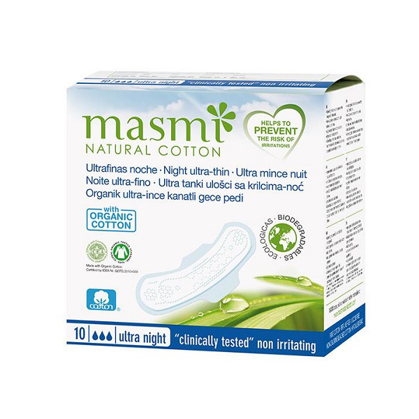 Masmi 100 Pure Cotton Soft Sanitary Pads Night Wings Indvidually Wrapped 10s