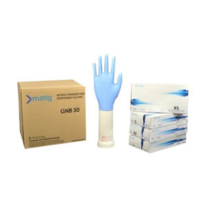 Matig Nitrile Blue White Powder Free Examination Gloves MEDIUM Pack Of 100