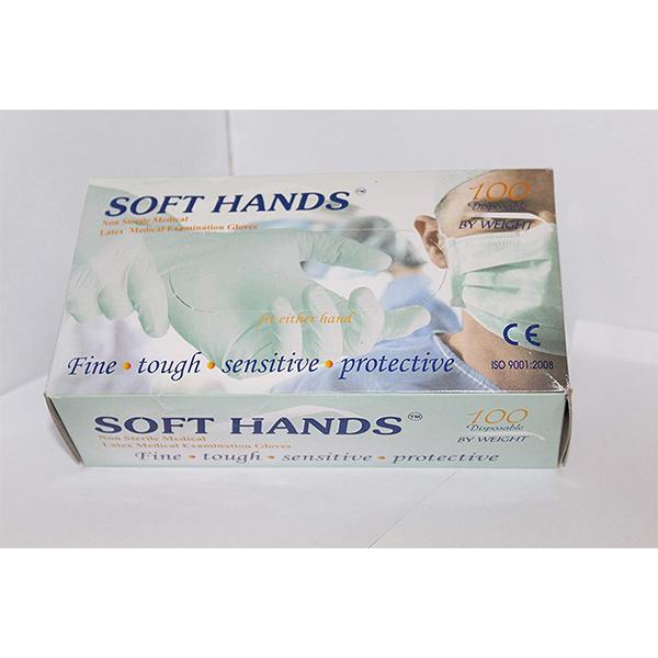 SOFT HANDS LATEX MEDICAL EXAMINATION GLOVES MEDIUM 1