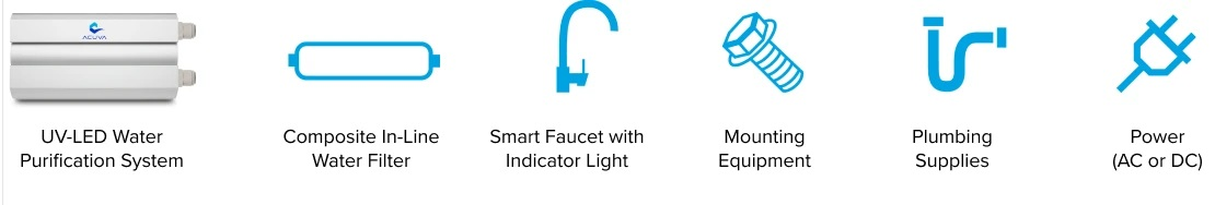ACUVA ARROW 5 UV LED WATER PURIFIER WITH SMART FAUCET in box