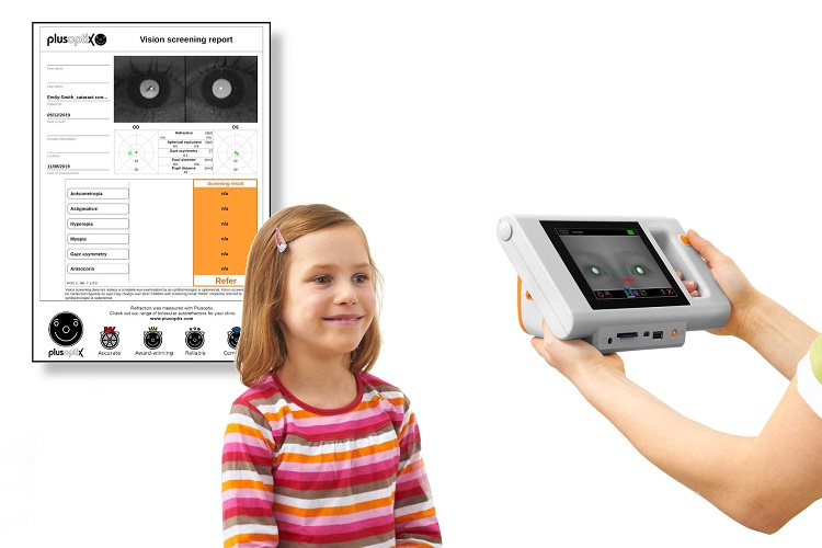 Plusoptix S12C child friendly measurement with report