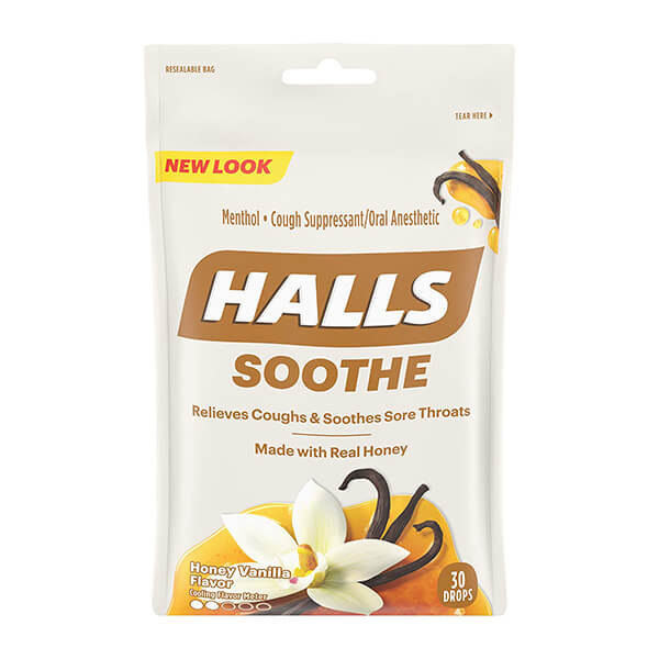 HALLS Soothe Honey Vanilla Flavor Cough Drops