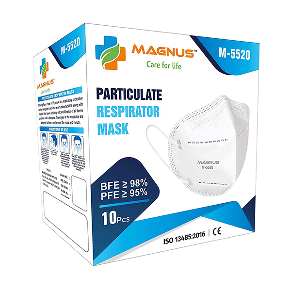 Magnus Non Woven M5520 Embedded Nose Clip Super Saver Disposable Double Meltblown Filter Layer Face Masks White Pack Of 10
