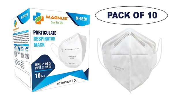 Magnus Non Woven M5520 Embedded Nose clip Super Saver Disposable Double Meltblown Filter Layer Face Masks White 1