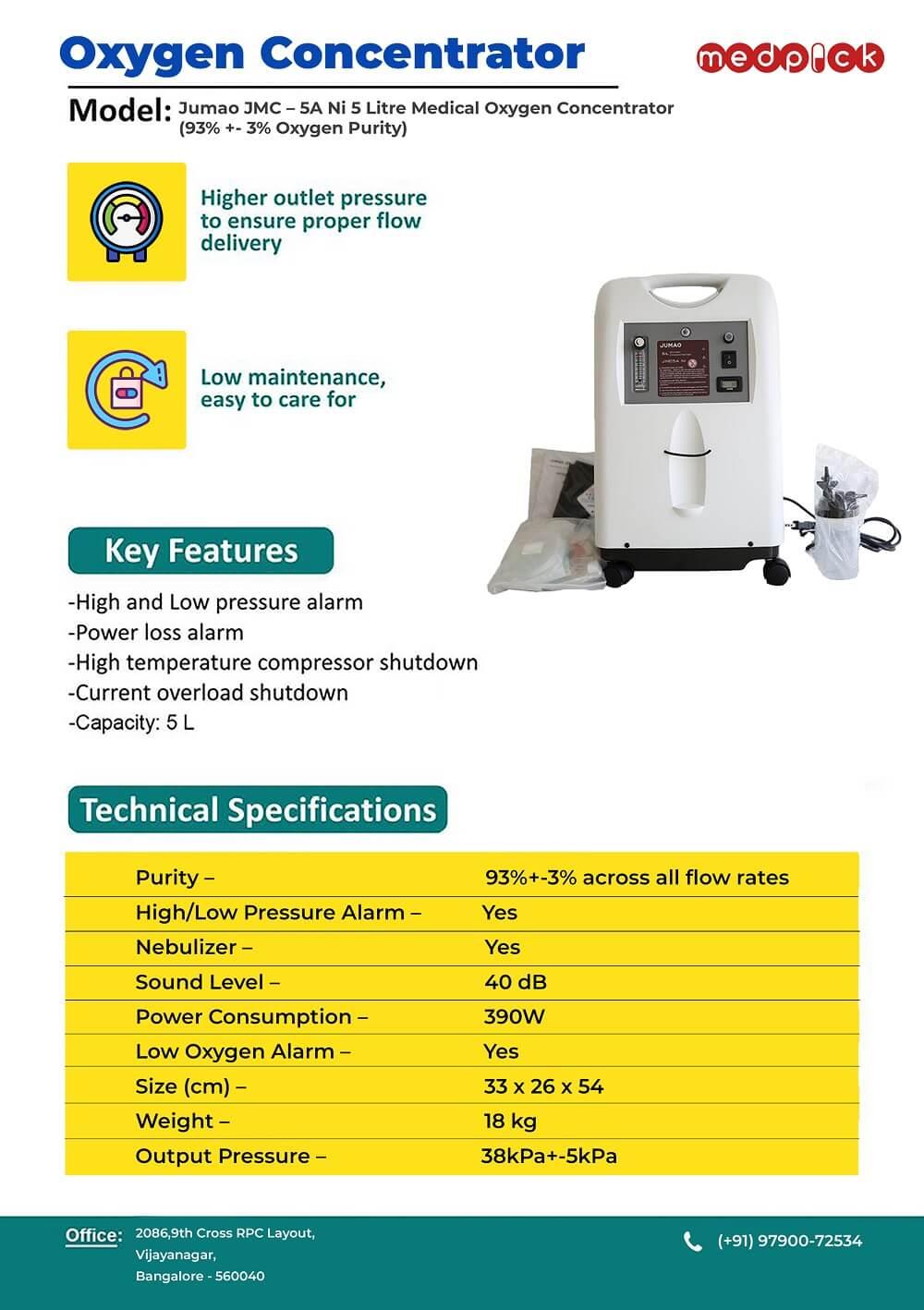 Jumao JMC – 5A Ni 5 Litre Medical Oxygen Concentrator (93% +- 3% Oxygen Purity)