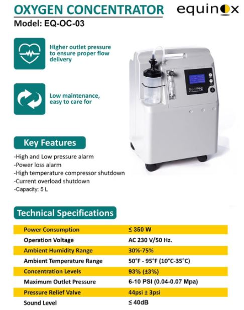 Oxygen Concentrator EQ OC 03 img specification