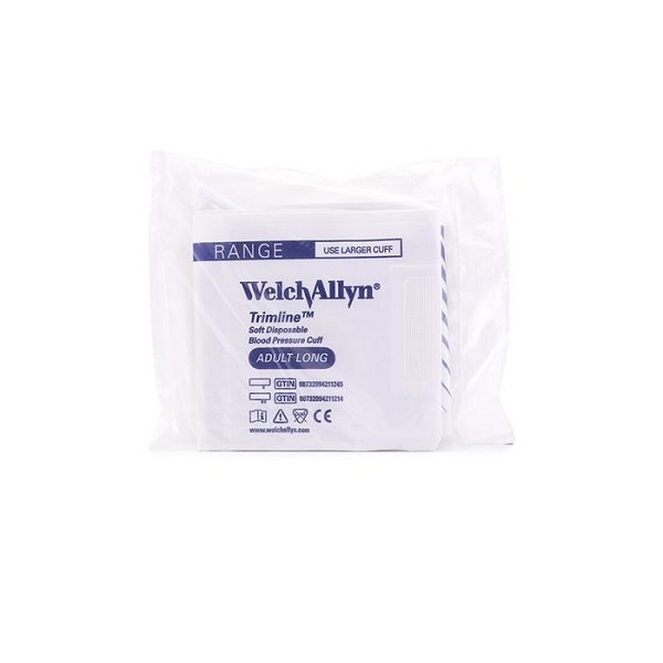 Welch Allyn Trimline Disposable Blood Pressure Cuff Adult Long 2 Tubes